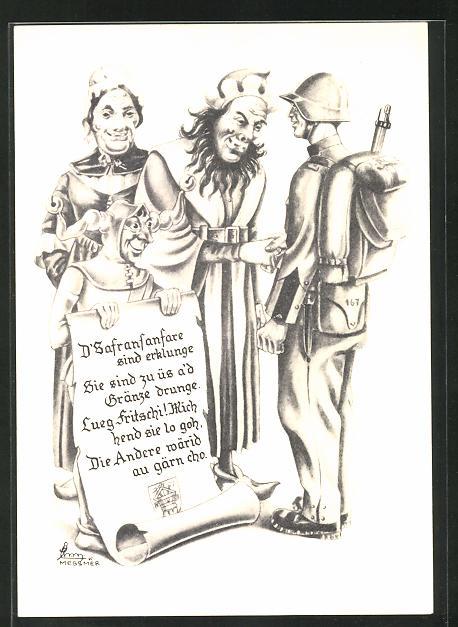 Künstler-AK Luzern, Bärteli-Essen 1940, Zunft zu Safran, Soldat und Maskierte