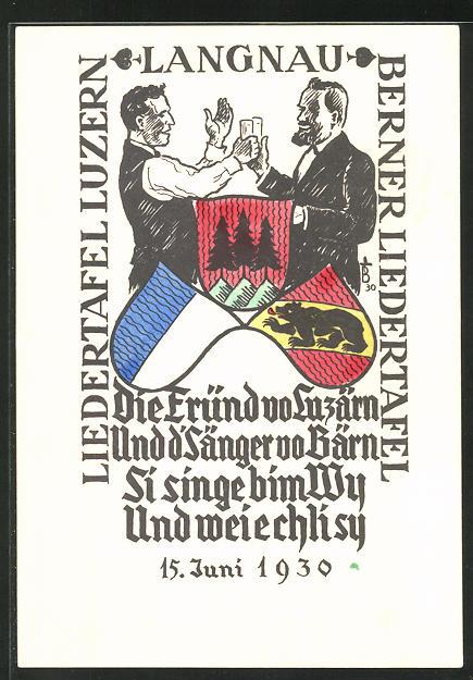 Künstler-AK Langnau, Liedertafel Luzern & Berner Liedertafel, 1930