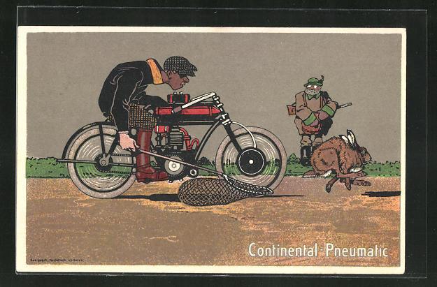 AK Continental-Pneumatic, Hasenjagd mit Motorrad, Reklame
