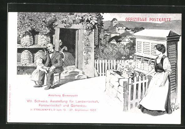 Künstler-AK C. Filsi: Frauenfeld, VII. Schweiz. Ausstellung für Land- , Forstwirtschaft und Gartenbau 1903, Imker