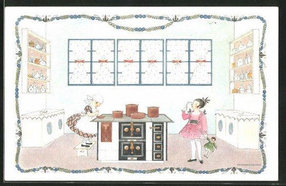 Künstler-AK Mela Köhler: Mädchen in Küche