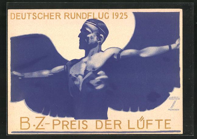 Künstler-AK Ludwig Hohlwein: B.Z.-Preis der Lüfte, Deutscher Rundflug 1925, Ikarus
