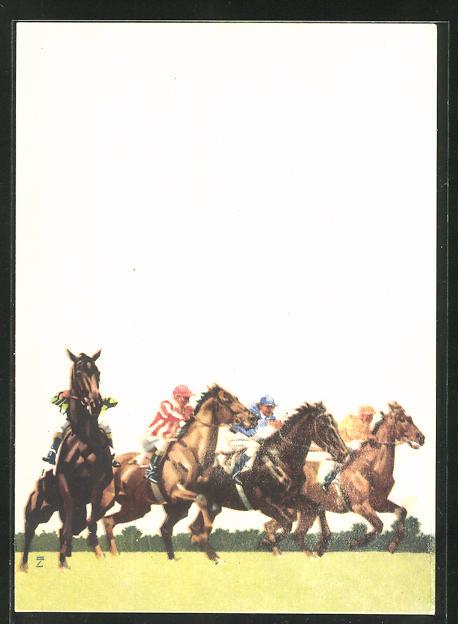 Künstler-AK Ludwig Hohlwein: Hoppegarten, Start der Vollblutpferde, Hippodrom, Pferderennen