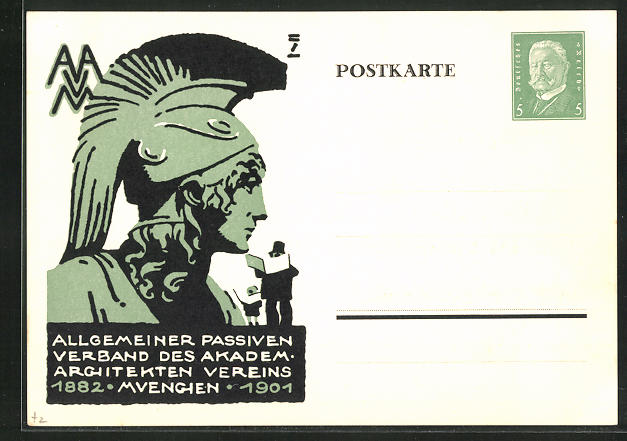 Künstler-AK Ludwig Hohlwein, Ganzsache PP117B11: München, Allg. Passiver Verband des Akadem. Architekten Vereins 1901