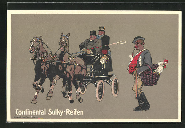 AK Reklame Continental Sulky-Reifen, Pferdekutsche