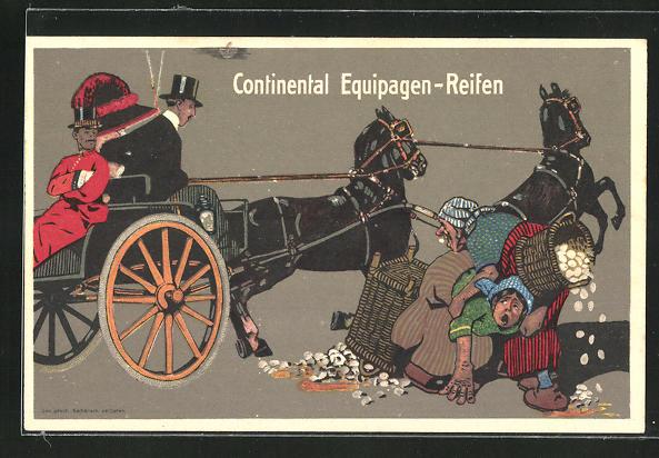 AK Reklame Continental Equipagen-Reifen, Pferdekutsche
