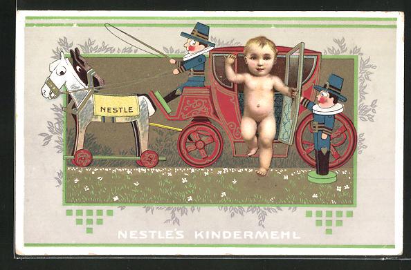 AK Nestle Kindermehl, Baby steigt aus einer Kutsche