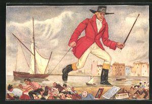 AK Chocolat au Lait, F-L. Caillers, übergrosser Mann im Hafen
