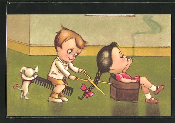 AK Mädchen bekommt beim Friseur den Zopf abgeschnitten