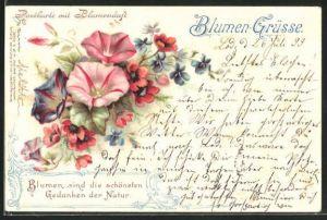 Duft-AK Blumen-Grüsse, Rote, violette und rosafarbene Blüten