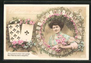 AK Portrait einer jungen Frau, Kartenspiel