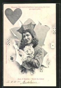 AK junge Dame mit Pick, Kartenspiel