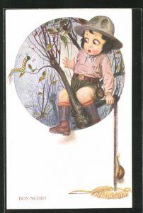 Künstler-AK Boy-Scout / Pfadfinder fürchtet sich vor einer Raupe