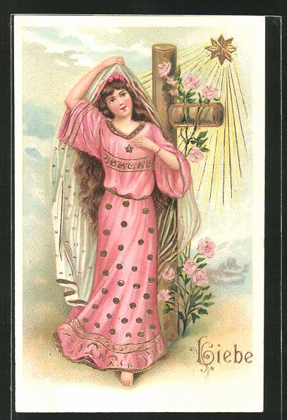 Präge-AK Allegorie für Liebe, Schöne Frau und Rosenranken am Kreuz