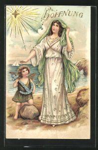 Präge-AK Allegorie für Hoffnung, Anker aus Vergissmeinnicht