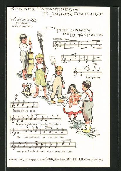 Künstler-AK Reklame für Chocolat du Lait Peter aus Vevey, Kinder-Lied Les Petits Nains de la Montagne