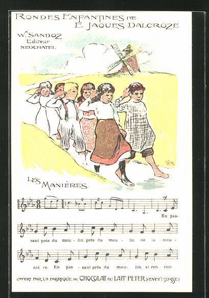 Künstler-AK Reklame für Chocolat du Lait Peter aus Vevey, Kinder-Lied Les Manières