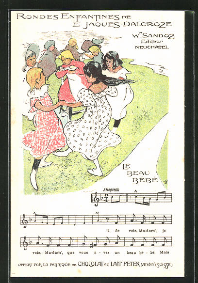 Künstler-AK Reklame für Chocolat du Lait Peter aus Vevey, Kinder-Lied Le Beau Bebe