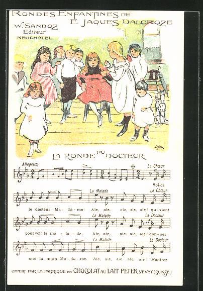 Künstler-AK Reklame für Chocolat du Lait Peter aus Vevey, Kinder-Lied La Ronde du Docteur