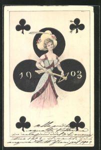 AK Kartenspiel, Kreuz-Dame mit Armbrust, Jahreszahl 1903