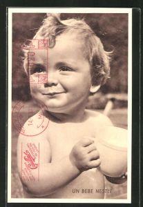 AK Reklame Nestle, Kleinkind mit Tasse in der Hand