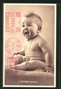 AK Reklame Nestle, Nacktes Kleinkind mit blonder Haartolle