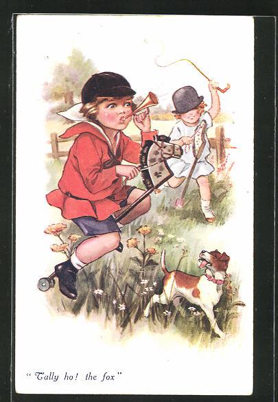 AK Kinder spielen mit dem Steckenpferd auf der Wiese
