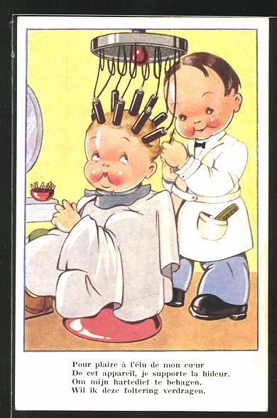 AK Junger Friseur dreht einer kleinen Kundin die Haare auf Lockenwickler
