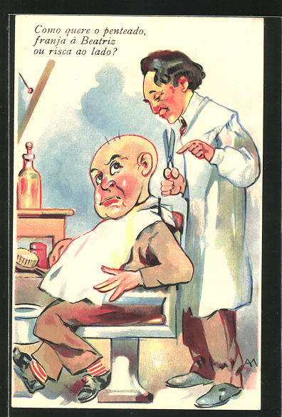 AK Friseur zückt die Schere für den Kunden mit den drei Haaren
