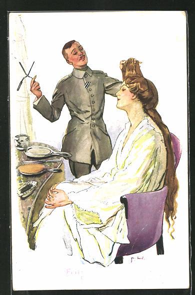 AK Friseur in Uniform frisiert die Haare einer Dame mit der Brennschere