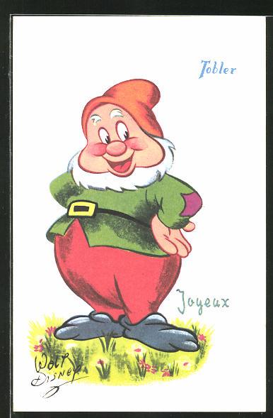 Ak Comic Figur Zwerg Mit Weissem Bart Walt Disney
