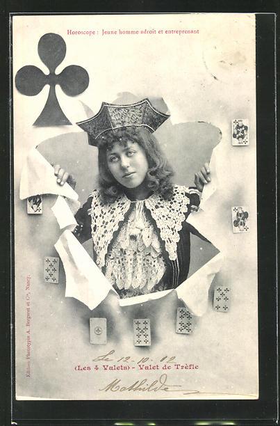 AK Kartenspiel, Kreuz-König blickt durch die aufgerissene Spielkarte