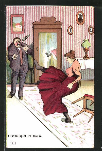 AK Ehefrau schleudert Pantoffeln in Richtung des Ehemanns, frauenfeindlicher Humor