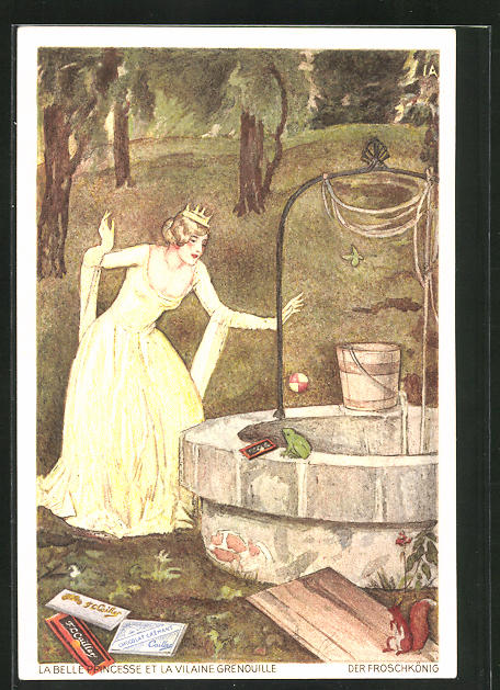 AK Der Froschkönig, Prinzessin wirft den Ball in den Brunnen, Reklame für Milch-Schokolade F.-L. Caillers