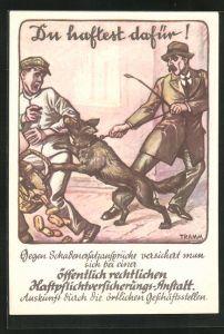 AK Hund beisst einen Mann in den Arm, Reklame der Haftpflichtversicherungs-Anstalt
