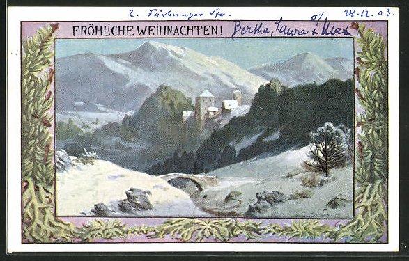 Künstler-AK August Splitgerber: Verschneite Berglandschaft mit Burg, Fröhliche Weihnachten