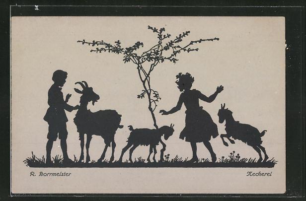 Künstler-AK R. Borrmeister: Neckerei, Kinder spielen mit den Ziegen auf der Wiese, Scherenschnitt