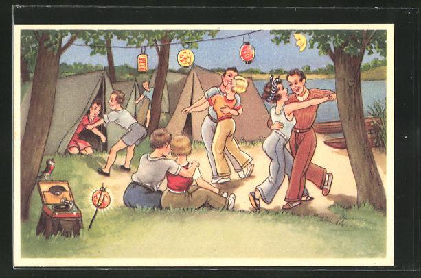 AK Paare tanzen auf dem Campingplatz zu der Musik vom Plattenspieler
