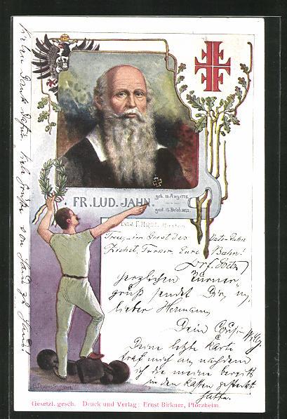 AK Portrait Fr. Lud. Jahn und Turner mit Kranz