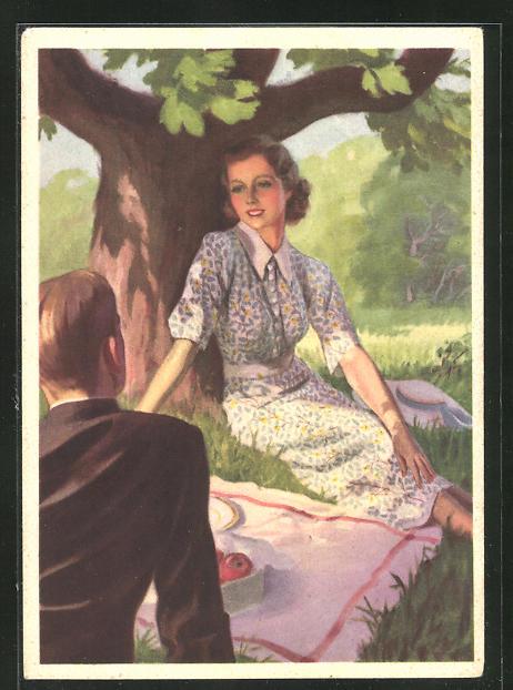 AK Reklame für Indanthrenfarbige Kleidung, Picknick im Schatten eines Baumes