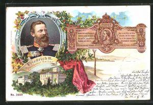 AK San Remo, Ortspartie, Portrait Friedrich Wilhelm III. von Preussen, Villa Zirio