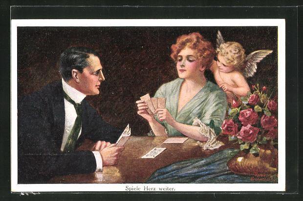 Künstler-AK Ruab Gnischaf: Kleiner Engel schaut einem Paar beim Kartenspiel zu