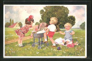 Künstler-AK sign. Jüchtzer: Kinder im Park mit Hund und einem Puppenwagen
