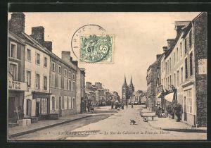 AK La Haye-du-Puits, la rue du Calvaire et la Place du Marche