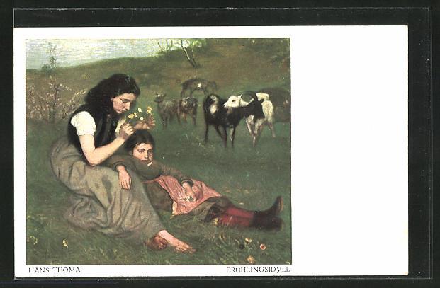 Künstler-AK Hans Thoma: Frühlingsidyll, Mädchen hüten Ziegen