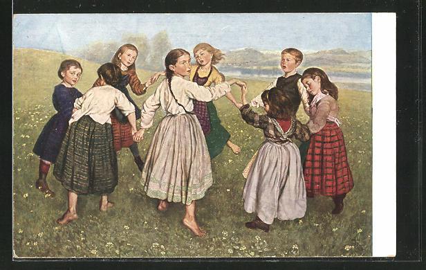 Künstler-AK Hans Thoma: Mädchen tanzen einen Reigen auf der Wiese