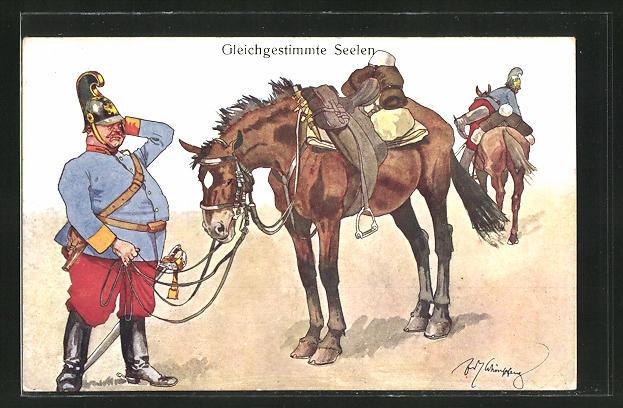 Künstler-AK Fritz Schönpflug: Kavallerist wundert sich über sein Pferd