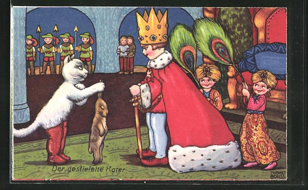Künstler-AK Margret Boriss: Der gestiefelte Kater bringt einen hasen zum König