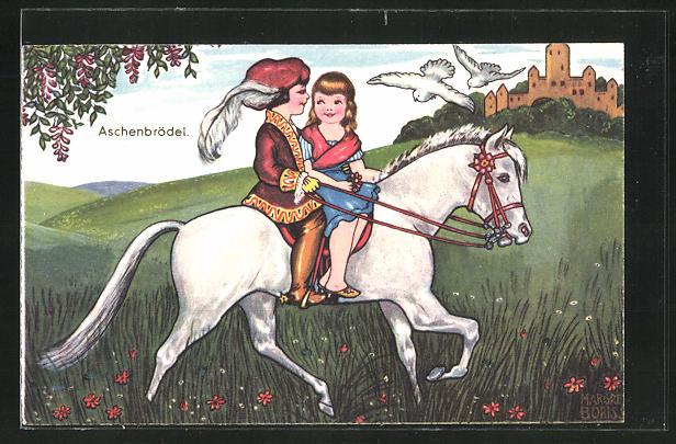 Künstler-AK Margret Boriss: Aschenputtel reiten mit dem Prinzen zum Schloss
