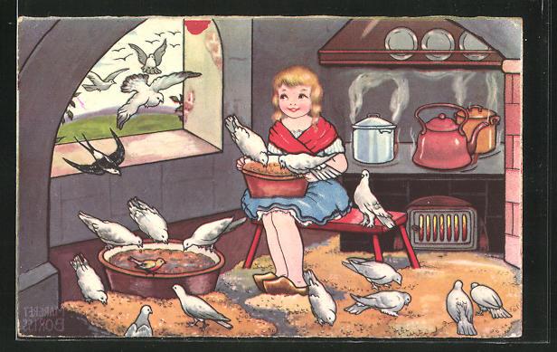 Künstler-AK Margret Boriss: Aschenputtel bekommt Hilfe von den Tauben